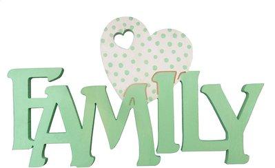 Scritta in legno family con cuore cm L 30x 18 h spessore 8 mm (verde cuore a pois)