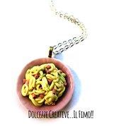 Collana Spaghetti alla carbonara - uovo, guanciale, formaggio - miniature - idea regalo - fimo cernit