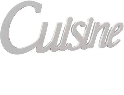 Scritta in legno Cuisine cm L 32x 12 h spessore 8 mm (bianco)
