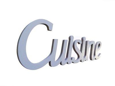 Scritta in legno Cuisine cm L 32x 12 h spessore 8 mm (tortora)