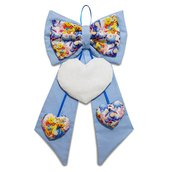 Fiocco nascita coccarda fuori porta cuore ricamabile tela aida azzurro Winnie the Pooh