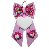 Fiocco nascita coccarda fuori porta cuore ricamabile tela aida rosa Principesse