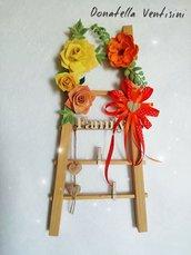Composizione floreale decorazione a parete fuori porta composizione doni e bomboniere occasioni speciali miss hobby regalo mamma romantico etereo cuore vimini scala dei valori