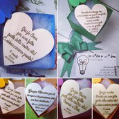 Calamita in legno a forma di cuore con incisione personalizzata