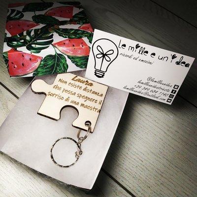 Coppia di portachiavi a forma di Puzzle personalizzati