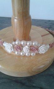 Elegante cerchietto in metallo con fiori di resina- Princess