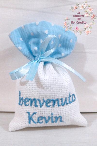 10 sacchetti ricamati per bomboniere nascita battesimo ricamo personalizzato