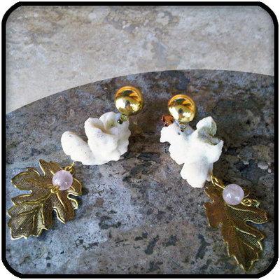 orecchini in corallo e quarzo rosa