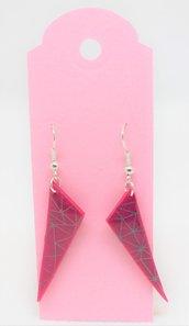 Orecchini triangolari fucsia Tipo 2