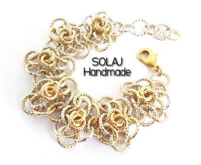 Bracciale da donna floreale Oro/Argento in Alluminio Diamantata chainmaille - WAB02