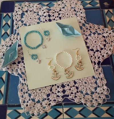 Parure di orecchini e braccialetto fatti a mano