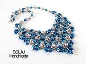 Collana da donna in Alluminio, Acciaio e cristallo blu metallizzato - WCN01