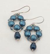 orecchini pendenti a goccia  tessitura di perline, schema tizianat