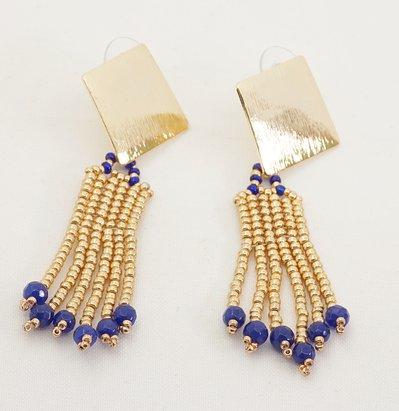 orecchini a frangia pendenti a lobo perline oro e pietre zaffiro