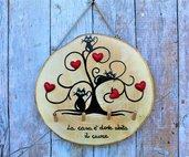 Appendichiavi in legno con albero della vita e gatti