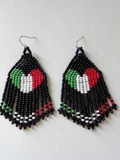 Orecchini frangia lunghi pendenti con perline fatti a mano - cuore bandiera italiana