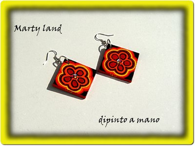 Orecchini di legno dipinti a mano - primavera Hand painted earrings