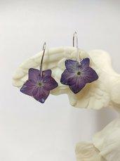Orecchini argento donna orecchini fiori ortensia viola orecchini fatti a mano pendenti argento placcato silver plated