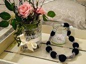 Collana con perle nere e strass
