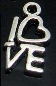 "10 CHARMS - PENDENTE - COLOR ARGENTO ""LOVE"" 14x8mm"