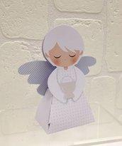Bomboniera portaconfetti completa a forma di angelo bimbo con ciondolo albero della vita