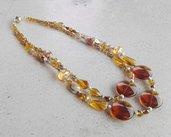 Collana grande con cristalli color ambra a due fili