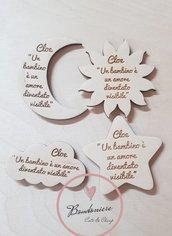 Bomboniere in legno personalizzabili applicazione sole stella luna nuvola per sacchettini o segnaposto