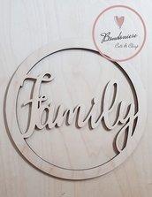 Fuori porta in legno personalizzabile o  decorazione muro a forma di cerchio con scritta famiglia