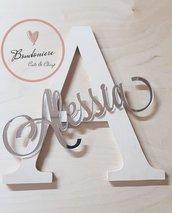 Fuori porta in legno e plexiglass personalizzabile o  decorazione muro a forma di lettera con nome