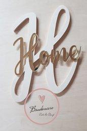 Fuori porta in legno e plexiglass personalizzabile o  decorazione muro a forma di lettera con scritta Home