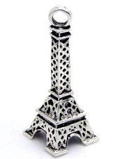 "2 CHARMS COLOR ARGENTO ""TORRE EIFFEL"" 27x10mm"
