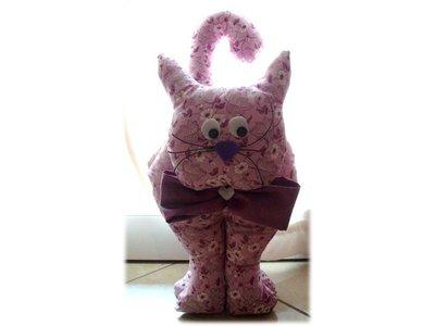 Gatto fermaporta- violet- cucito creativo
