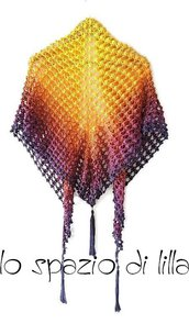 Scialle crochet uncinetto ViVid in cotone sfumato multicolor, pareo, moda donna estate