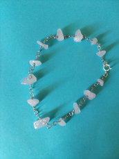 Bracciale rosario in quarzo rosa cips irregolari