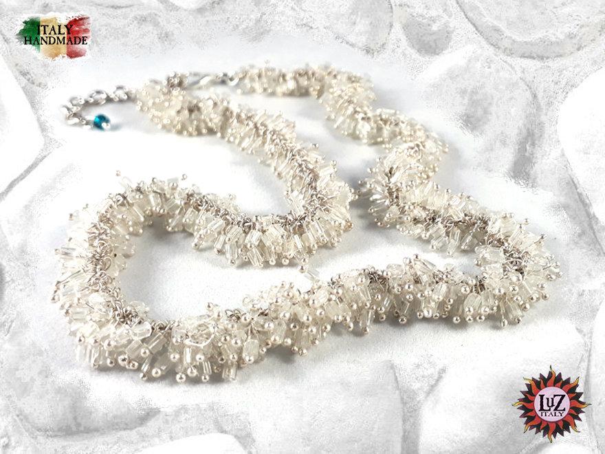 Collana Grappolo Vetro Bianca - Collezione LuZ Italy