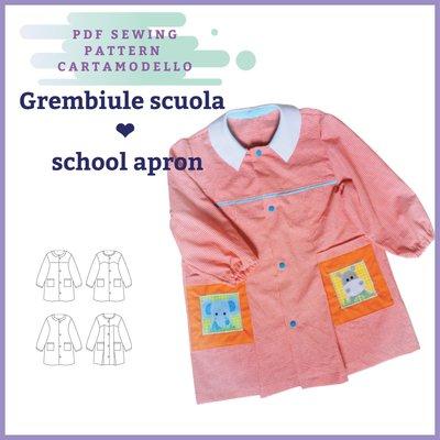 cartamodello pdf grembiule scuola asilo in taglia 2 anni a 10 anni