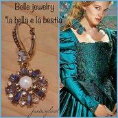 Orecchini bella e la bestia fiore blu vintage barocco pendenti regalo cristalli swarowski