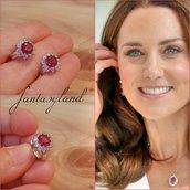 Orecchini kate Middleton principessa duchessa brillantini rosso rubino regalo cristallo