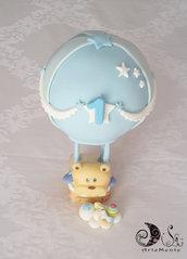 Cake topper mongolfiera primo compleanno bimbo con orsetto e giocattoli personalizzabile