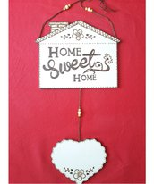 """Dietro Porta in legno """"HOME SWEET HOME"""" inciso a fuoco"""