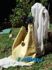 KIMONO BAG BICOLOR in tessuto d'arredamento fatta a mano