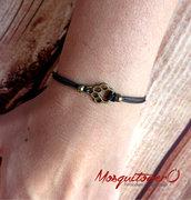 Bracciale ZAMPA gatto donna o uomo semplice minimal in metallo color bronzo, impronta zampina in cordino semplice