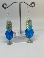 orecchini champagne blu