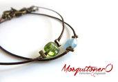 Bracciale uomo perle pietre Peridoto Olivina verde o Acquamarina azzurro ,per lui, Braccialetti semplice regolabile delicato