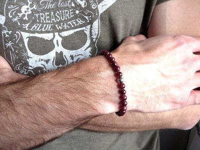Bracciale uomo perle pietra GRANATO ROSSO,per lui,granato gioielli, Braccialetto curativo, regalo fidanzato,braccialetto elastico