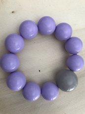 Bracciale elastico con perle color lilla