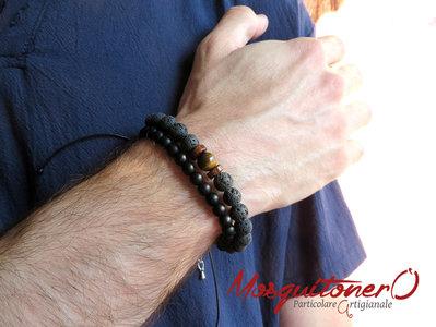 Bracciale uomo perle pietra Lavica lava nera e Lapislazzuli blu, Occhio di tigre, Onice nero,stile etnico, idea regalo ragazzo