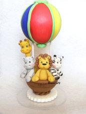 Cake topper Mongolfiera Animaletti leone giraffa ippopotamo compleanno nascita battesimo