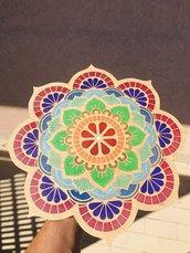 Mandala in legno e resina Epossidica