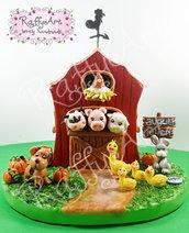 """Cake topper """"Fattoria in festa"""" (personalizzabile)"""